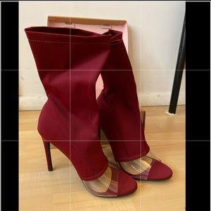 Sock high heel shoes - open toe stilettos burgundy